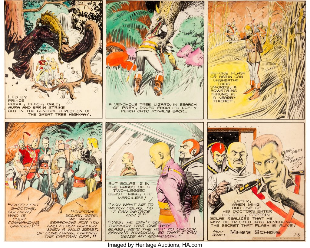 A Flash Gordon comic strip page drawn and coloured aby Alex Raymond