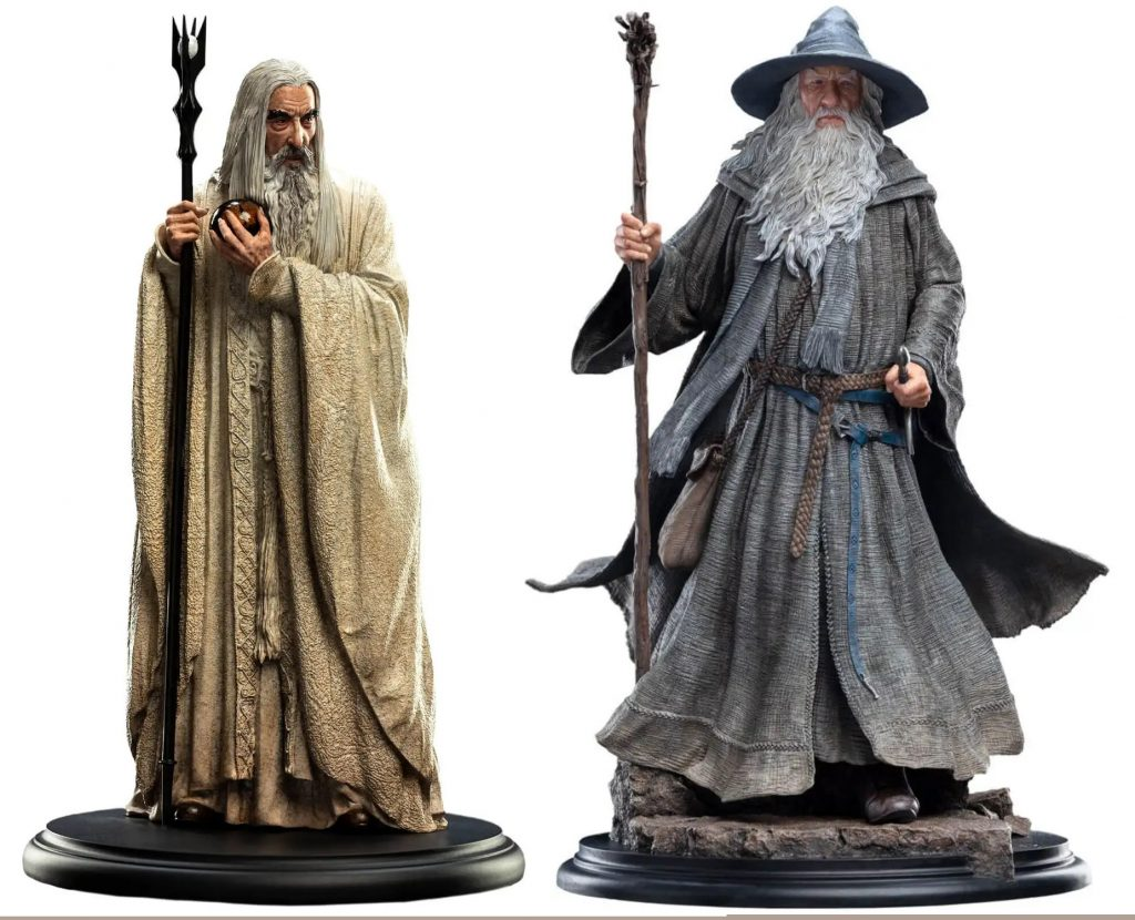 Weta statues of Saruman  the White, and Gandalf the Grey.