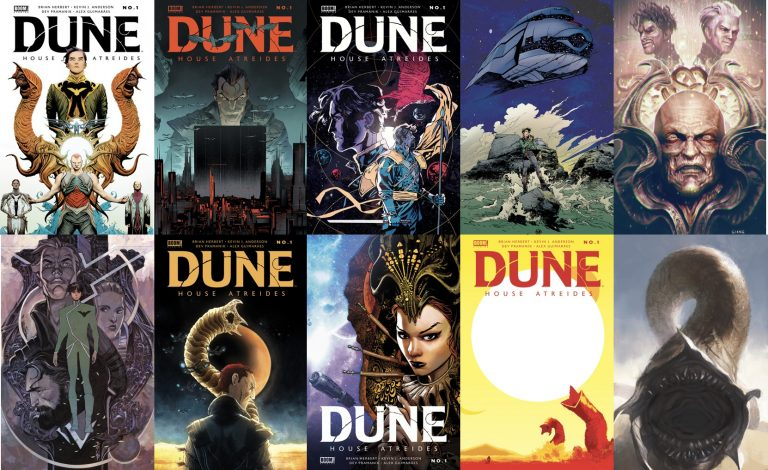 A collage of all 12 cover variants for Dune: House Atreides issue 1