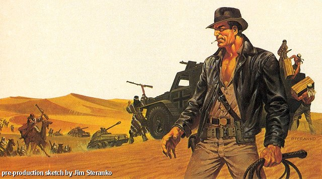 An example of Jim Steranko's concept art of Raiders of the Lost Ark