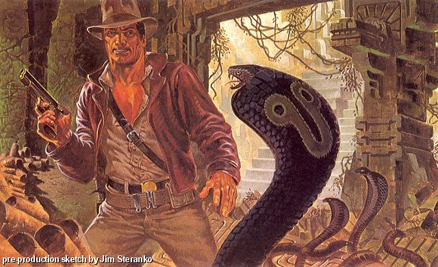 Concept art for 'Raiders of the Lost Ark' by Jim Steranko, of Indy in a temple.